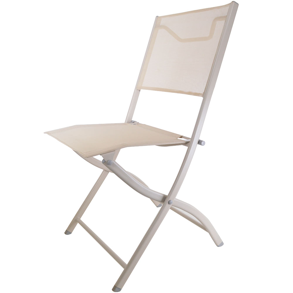 Silla plegable en textilina color beige geant for Sillas polipiel beige