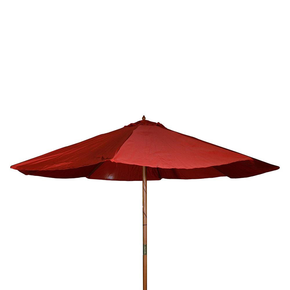 Sombrilla para jard n de madera y poli ster color rojo geant for Sombrilla jardin