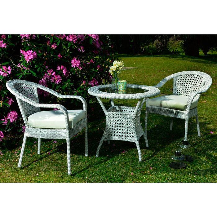 Juego de Jardín con mesa en rattan blanco con vidrio - geant