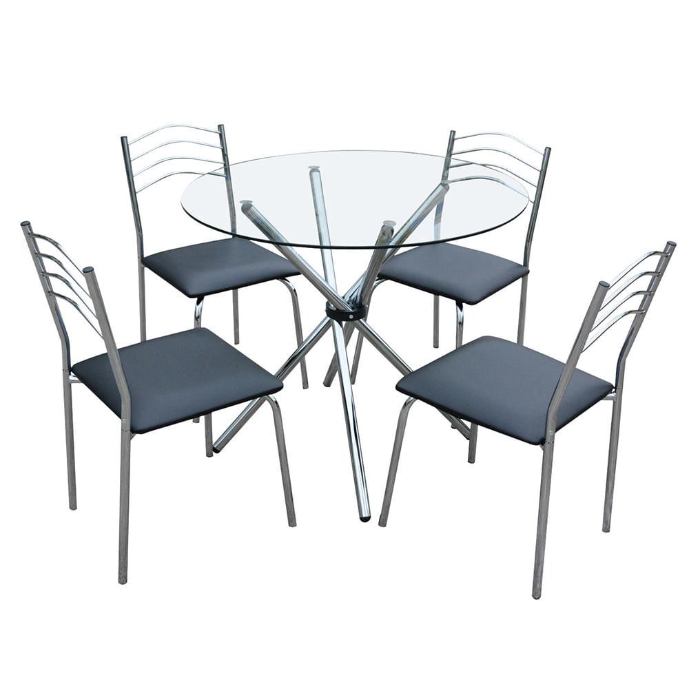 Juego de comedor mesa redonda di metro 120 cm metal 4 for Sillas de metal para comedor