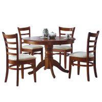 Juego-de-comedor-mesa-redonda---4-sillas-tapizadas-Madera-maciza
