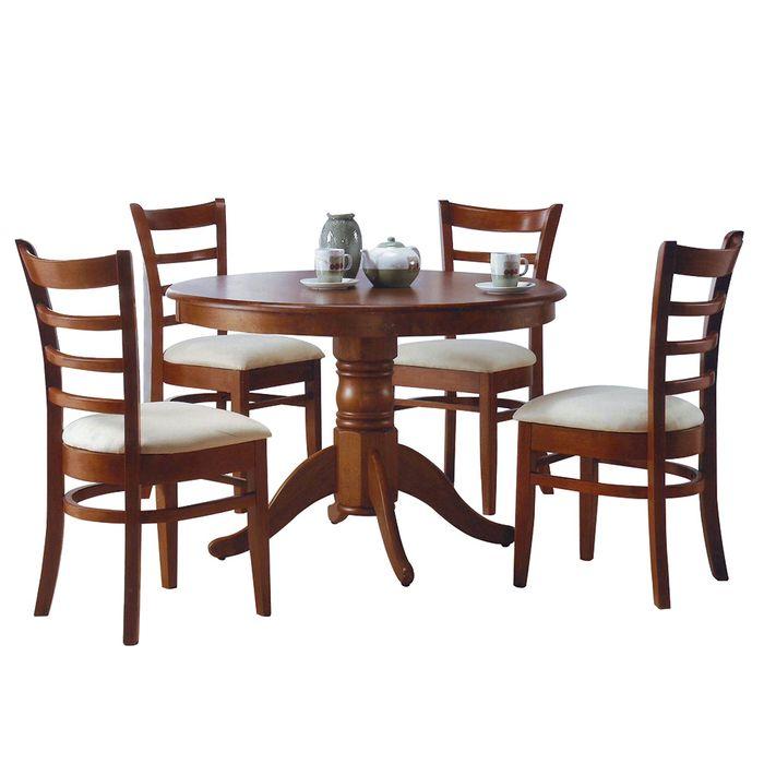 juego de comedor mesa redonda 4 sillas tapizadas madera