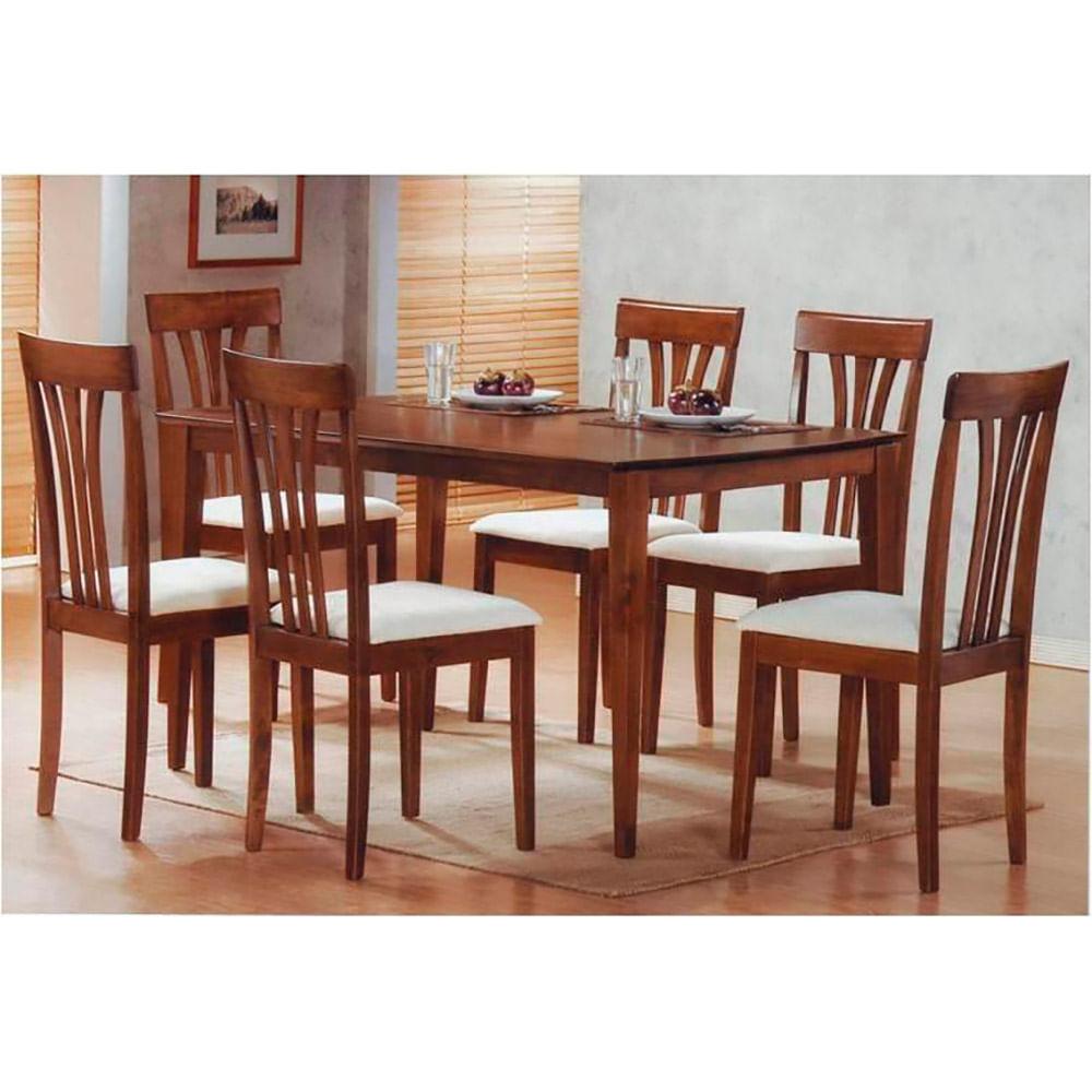 Juego de comedor franklin madera con 6 sillas tapizadas for Sillas con apoyabrazos tapizadas