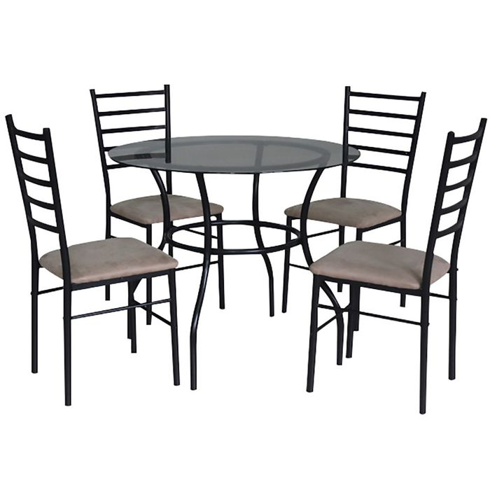 Juego de comedor mesa con vidrio templado 4 sillas geant for Comedor redondo 5 sillas