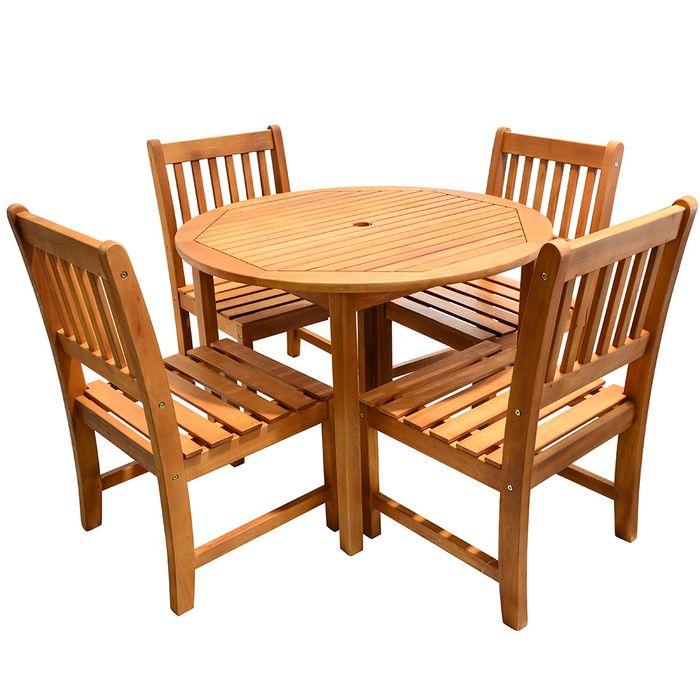 Mesa redonda 4 sillas en madera para exterior geant for Sillas de madera para exterior