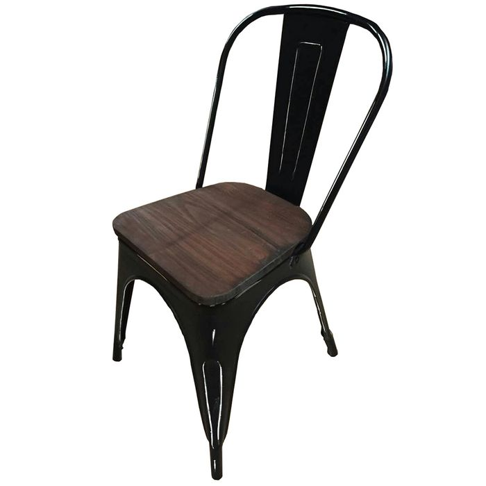 Silla-Mod.-Tolix-de-metal-antique-asiento-de-madera-color-negro