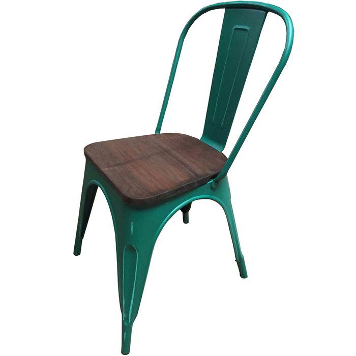 Silla-Mod.-Tolix-de-metal-antique-asiento-de-madera-color-verde