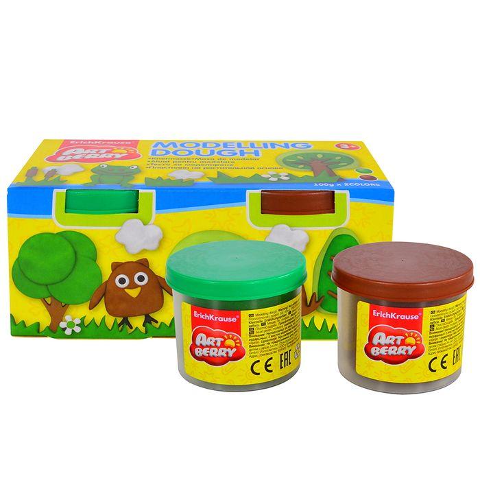 Masa-de-moldear-ART-BERRY-2-potes-de-100g-marron-verde