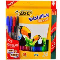 Lapices-de-colores-BIC-24-un.---4-Boligrafos-BIC-Cristal--2--grafitos-de-regalo