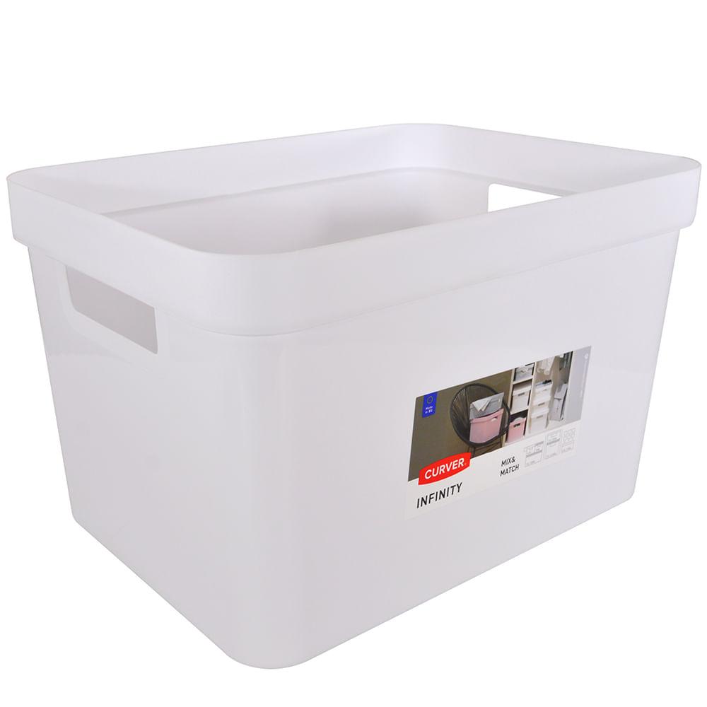 Caja para almacenar sin tapa 17l blanca geant - Cajas de plastico para almacenar ...