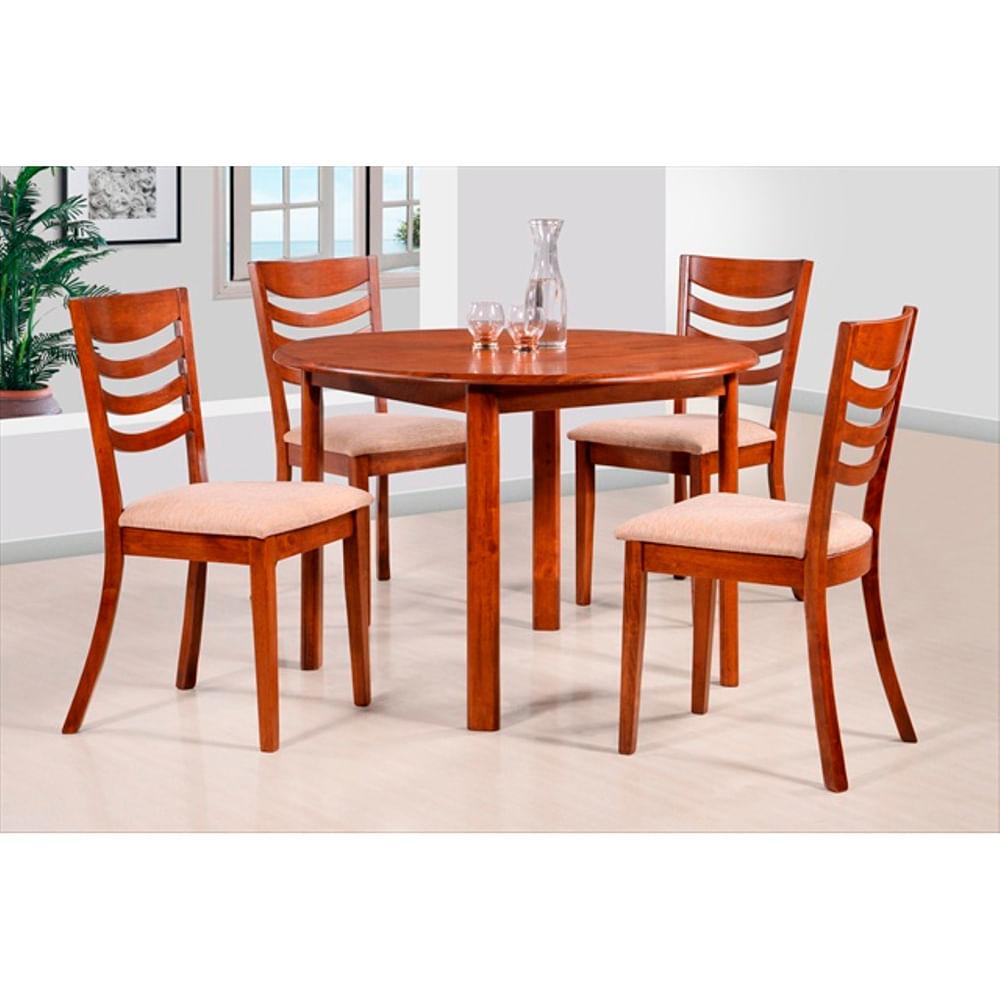 Juego de comedor en madera maciza mesa redonda 4 sillas geant for Comedor 4 sillas madera