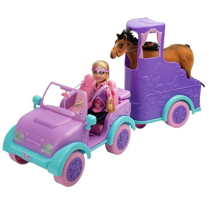 Auto-con-muñeca-trailler-con-caballo