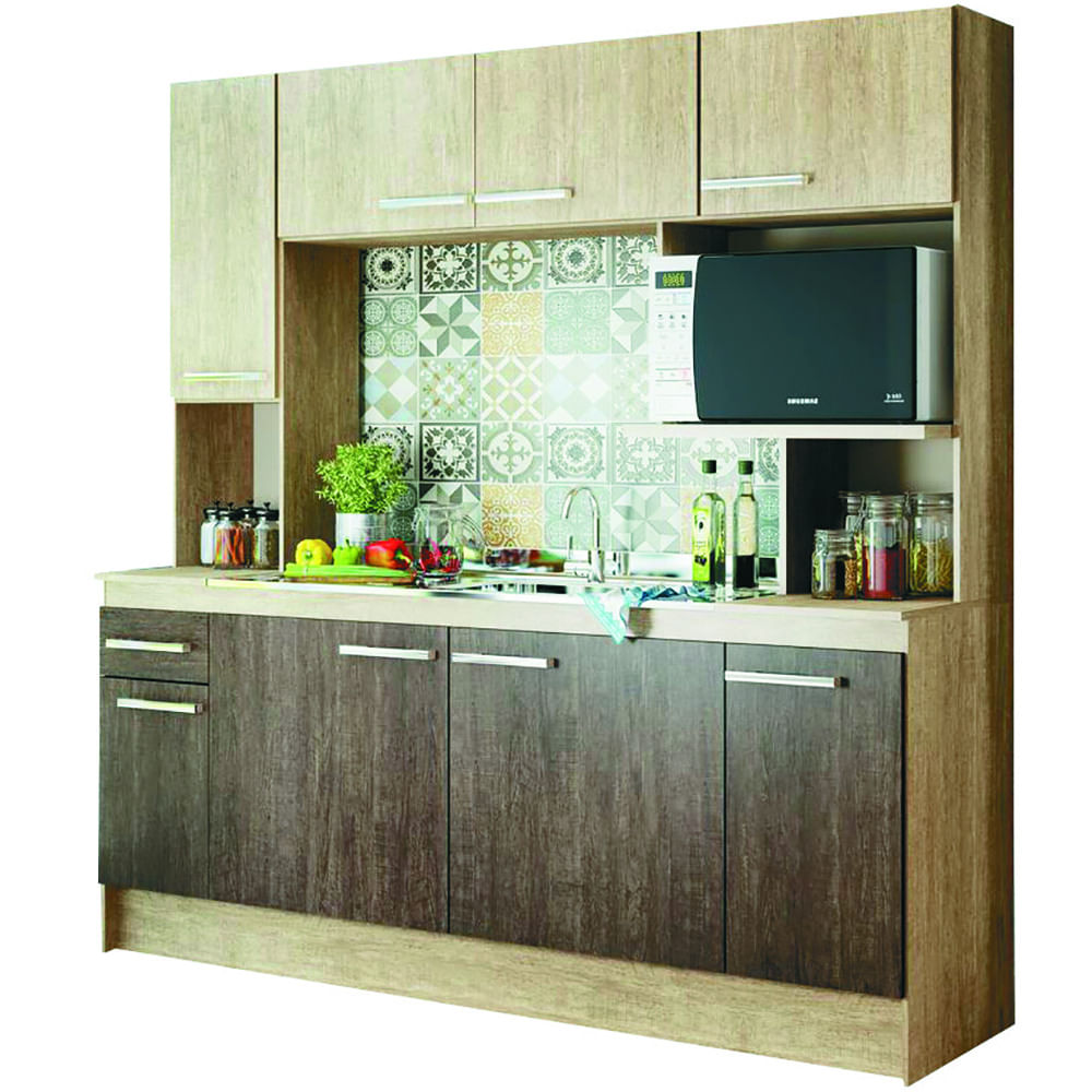Cocina compacta Mod. Napoles freijo/acacia 190x188x53cm - geant
