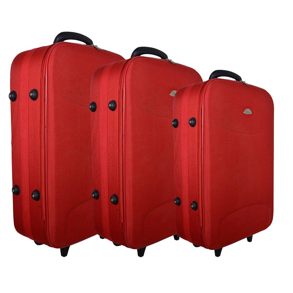 94595a781 Valijas set 3 piezas con 2 ruedas rojo - disco