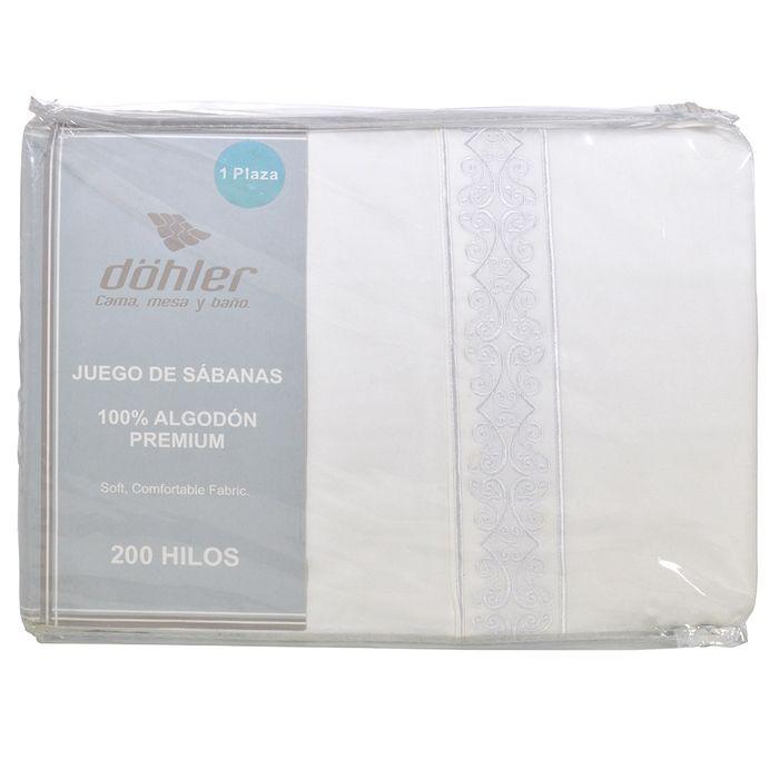 Juego-de-sabanas-1-plaza-DOHLER-200-hilos-Blanco