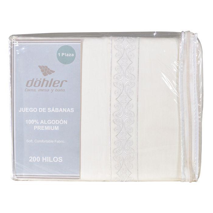 Juego-de-sabanas-1-plaza-DOHLER-200-hilos-Crema