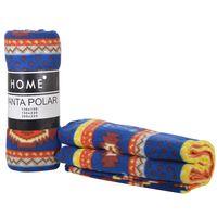 Manta-polar-HOME-de-viaje-130-x-150-cm-estampado-etnico-marron-y-naranja