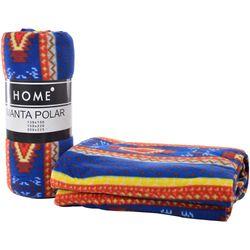 Manta-polar-HOME-2-plazas-200-x-225-cm-estampado-etnico-marron-y-naranja