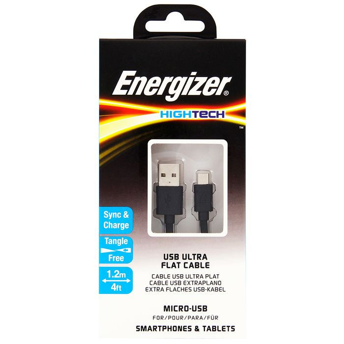 Cable-flat-USB-MicroUSB-ENERGIZER-1.2-m-negro---