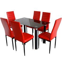 Juego comedor mesa de vidrio negra + 6 sillas en rojo - geant