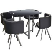 Set--de-mesa-en-vidrio---4-butacas-en-pu-negro