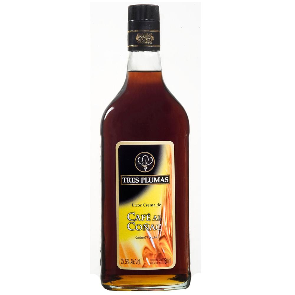 Licor Tres Plumas café con cognac 750 cc