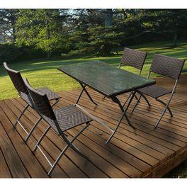 Juego de jardín mesa + 4 sillas plegables en rattan - geant