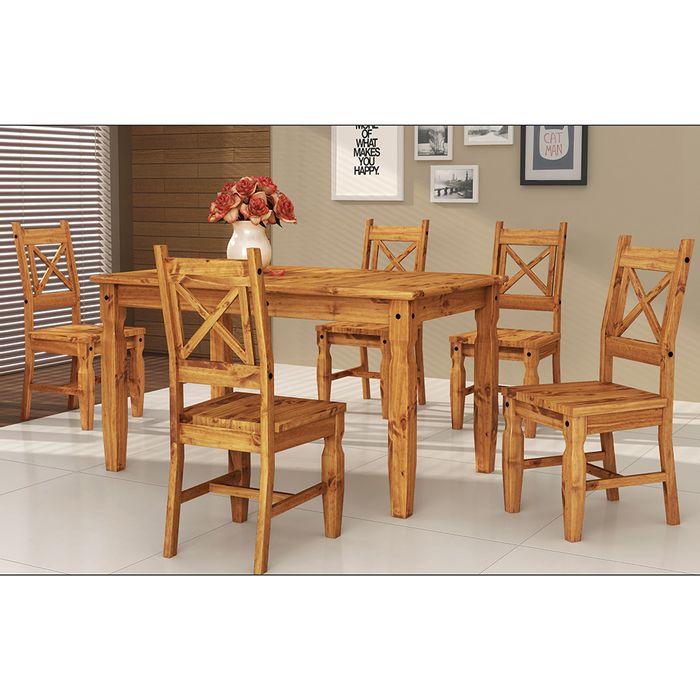 Juego de Mesa y 6 sillas en pino 76x152x92 cm - geant