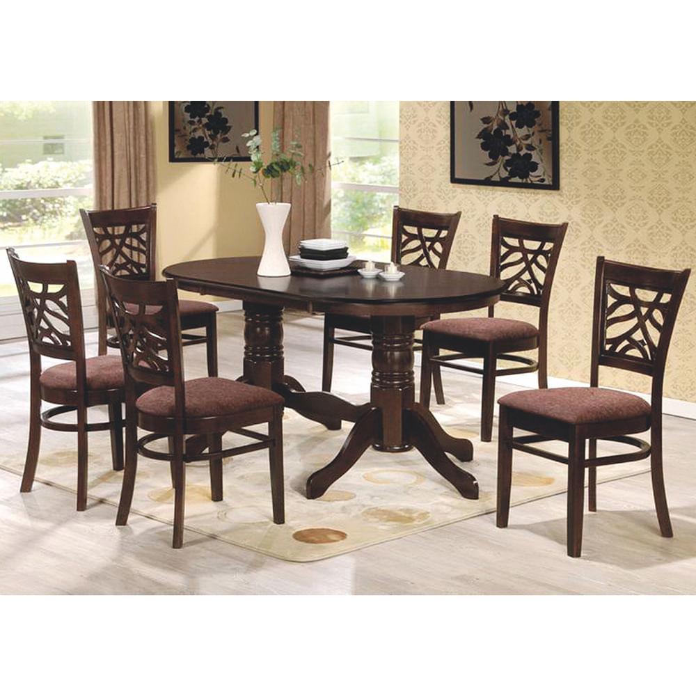 Juego de comedor en madera mesa 6 sillas 160x90 cm geant for Precio de juego de comedor de madera de 6 sillas