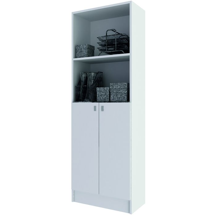 Biblioteca-Mod.-Doors-con-puertas-en-color-blanco-174x60x30-cm