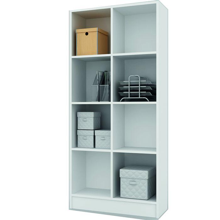 Biblioteca-doble-Mod.-Bookcase-con-estantes-color-blanco-174x80x30-cm