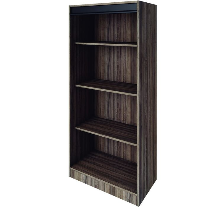 Biblioteca-Mod.-Alabama-con-estantes-color-chocolate-y-negro-157x68x37-cm