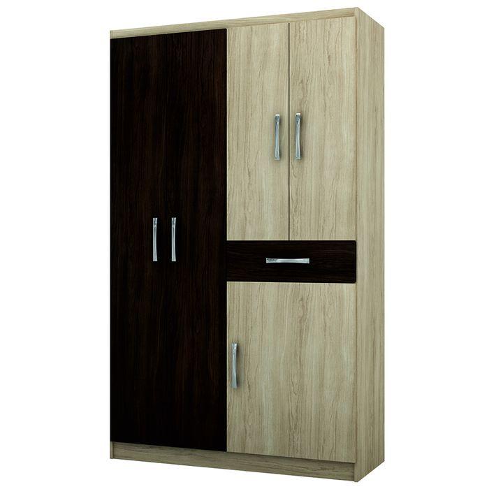 Placard-Mod.-Caribe-5-puertas-color-chocolate-y-nuez-200x104x43-cm