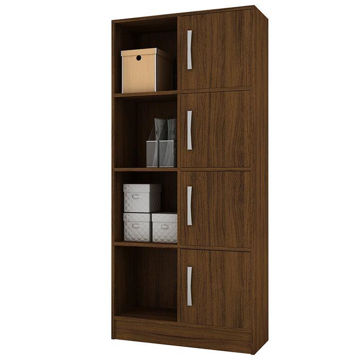 Biblioteca-en-castaño-con-estantes-y-puertas