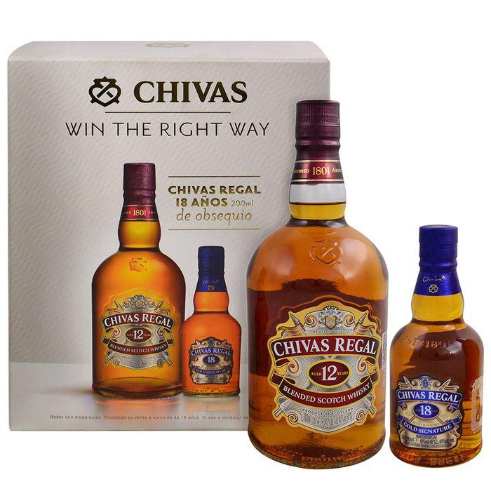 Whisky-escoces-Chivas-Regal-12-años-1-L---Chivas-Regal-18-años-200-cc