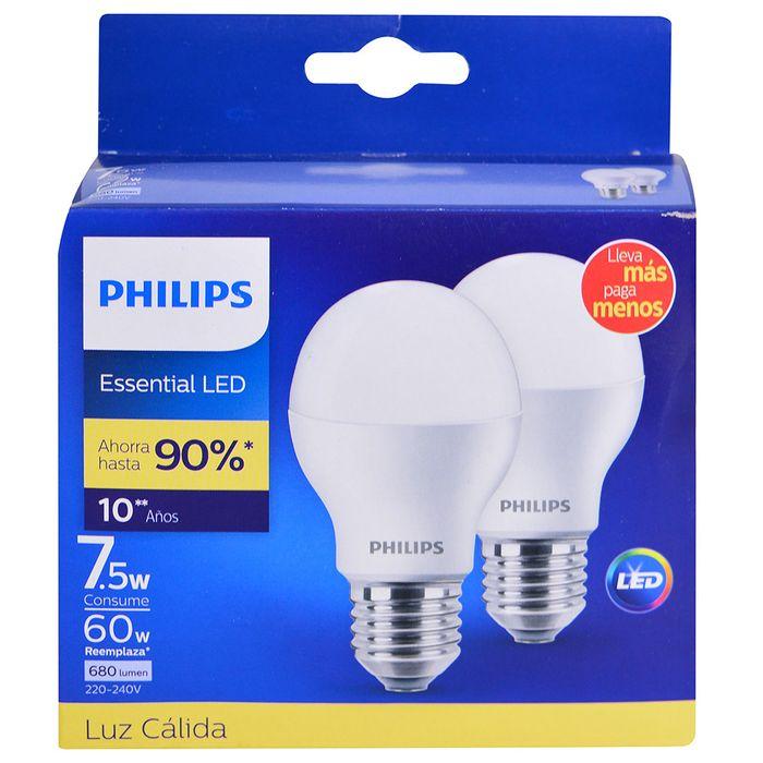 Pack-led-PHILIPS-x-2-Mod.-Essensial-7.5w-3000k-e27