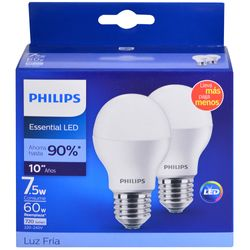 Pack-led-PHILIPS-x-2-Essensial-7.5w-6500k-e27