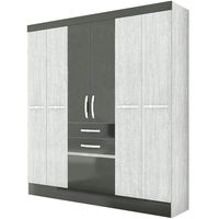 Placard-6-puertas-2-cajones-en-gris-negro-204x177x475cm