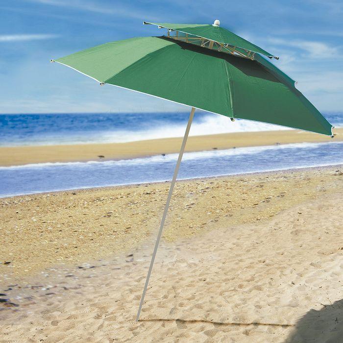 Sombrilla-doble-playa-verde-liso-premium