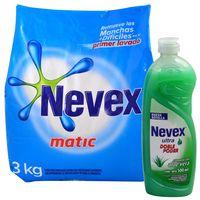 Pack-detergente-polvo-Nevex-sol-3-kg---lavavajilla-Nevex-ultra-500-cc