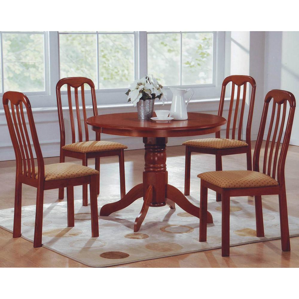 Juego de comedor mesa redonda pedestal + 4 sillas capuccino
