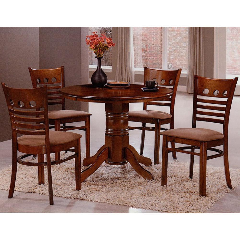 Juego de comedor mesa redonda pedestal + 4 sillas roble oscuro - disco