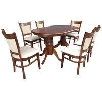 Juego-de-comedor-mesa-oval-doble-pedestal---6-sillas-roble-oscuro