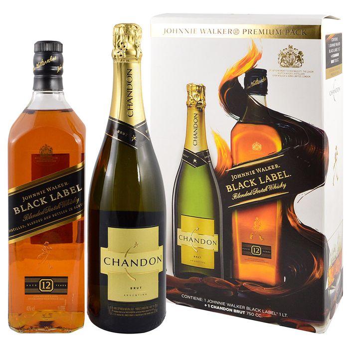 Whisky-escoces-Johnnie-Walker-etiqueta-negra-1-L---Espumoso-extra-brut-Chandon-750-cc