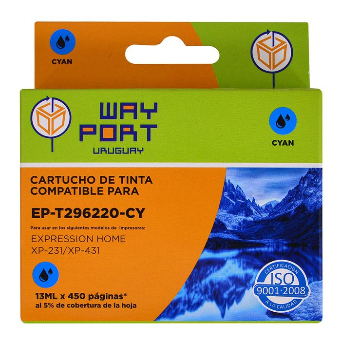 Cartucho-way-port-para-Epson-Mod.-XP231-t296220-13ml-cy-xl