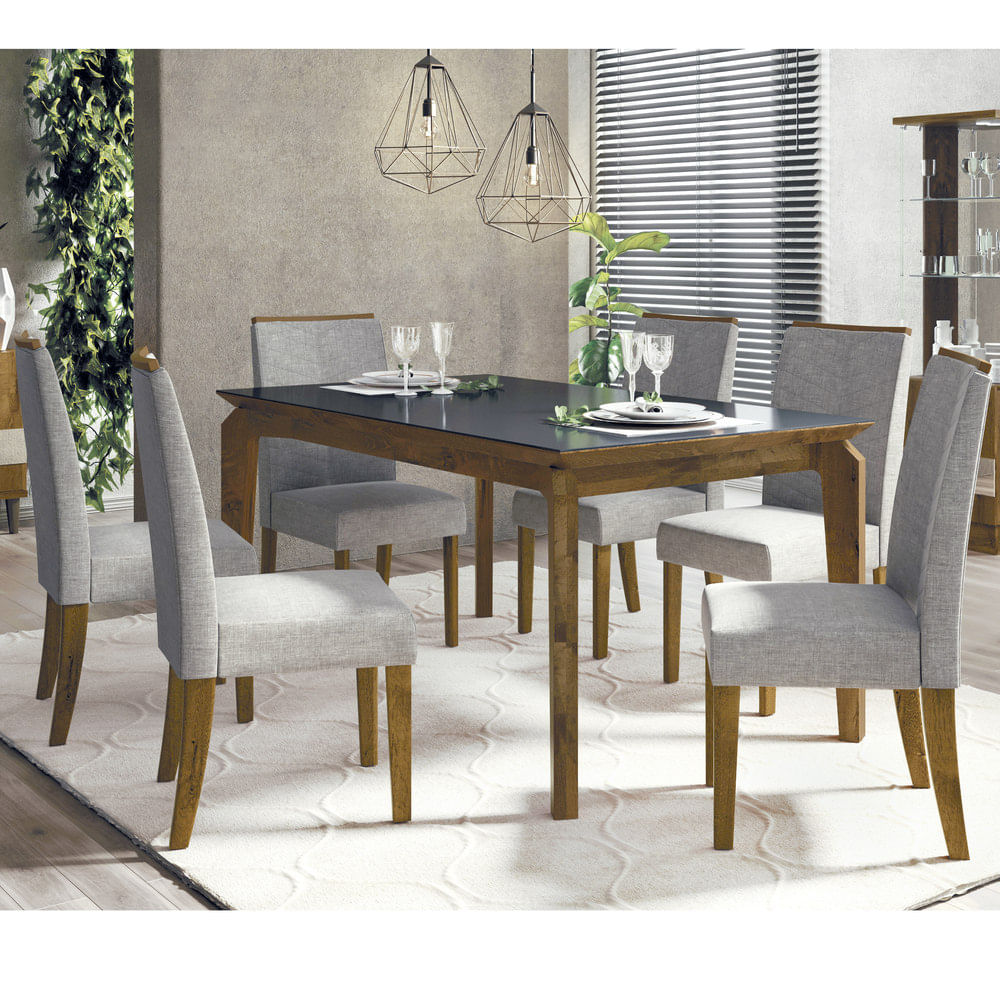 Juego de comedor mesa rectangular 170x90+6 sillas tapizadas - disco