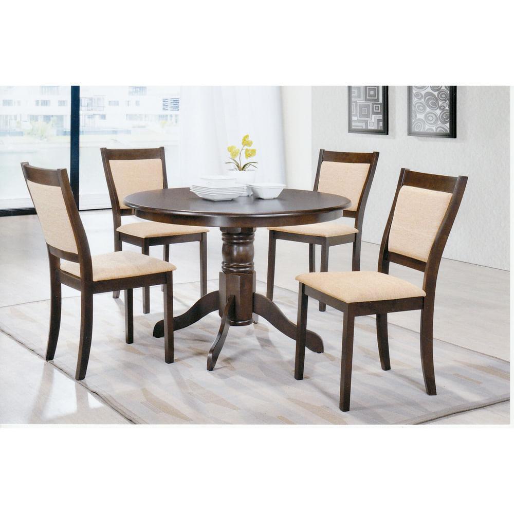 Juego de comedor mesa base central 4 sillas tapizadas