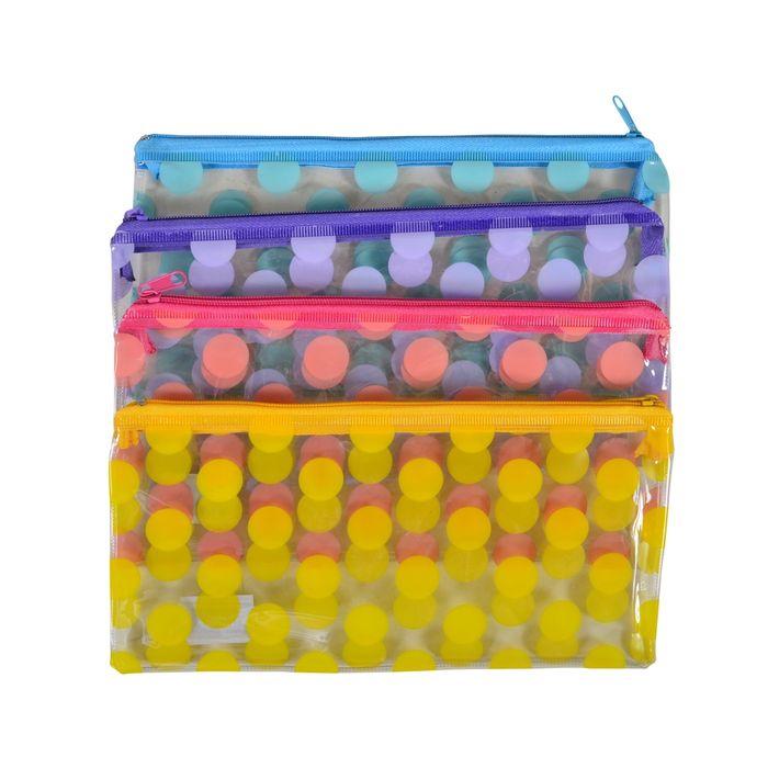 Cartuchera-PVC-transparente-circulos-4-colores