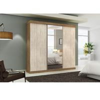 Placard-3-puertas-corredizas---6-cajones---espejo-vainilla-230x250x60cm