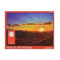 Puzzle-500pzas.-Puesta-Sol-con-Montañas